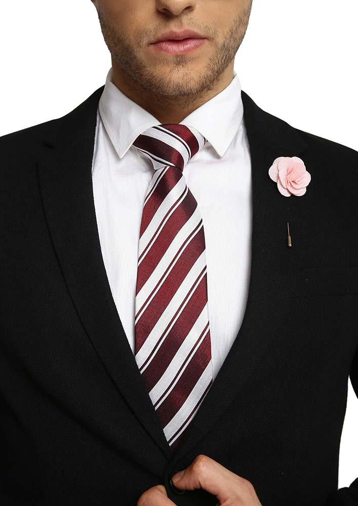 MAROON AND WHITE STRIPED TIE