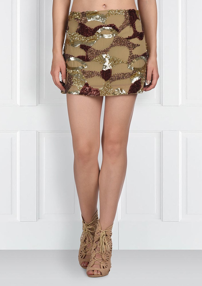 SHADES OF GOLD SEQUIN SKIRT