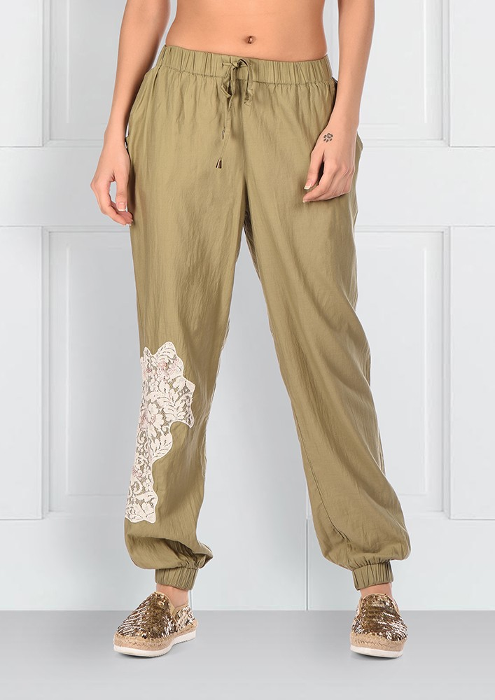 Satin Green Embroidered Joggers